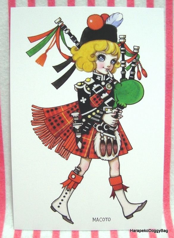 an illustration of kawaii girl with bagpipes this is a japanese postcard released for a macoto takahashi shojo art exhibition in tokyo japan