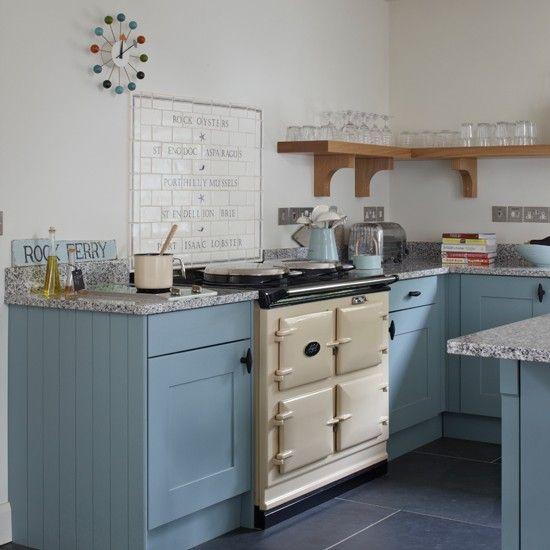 Blue and cream kitchen with aga coastal kitchen design for Cream country kitchen designs