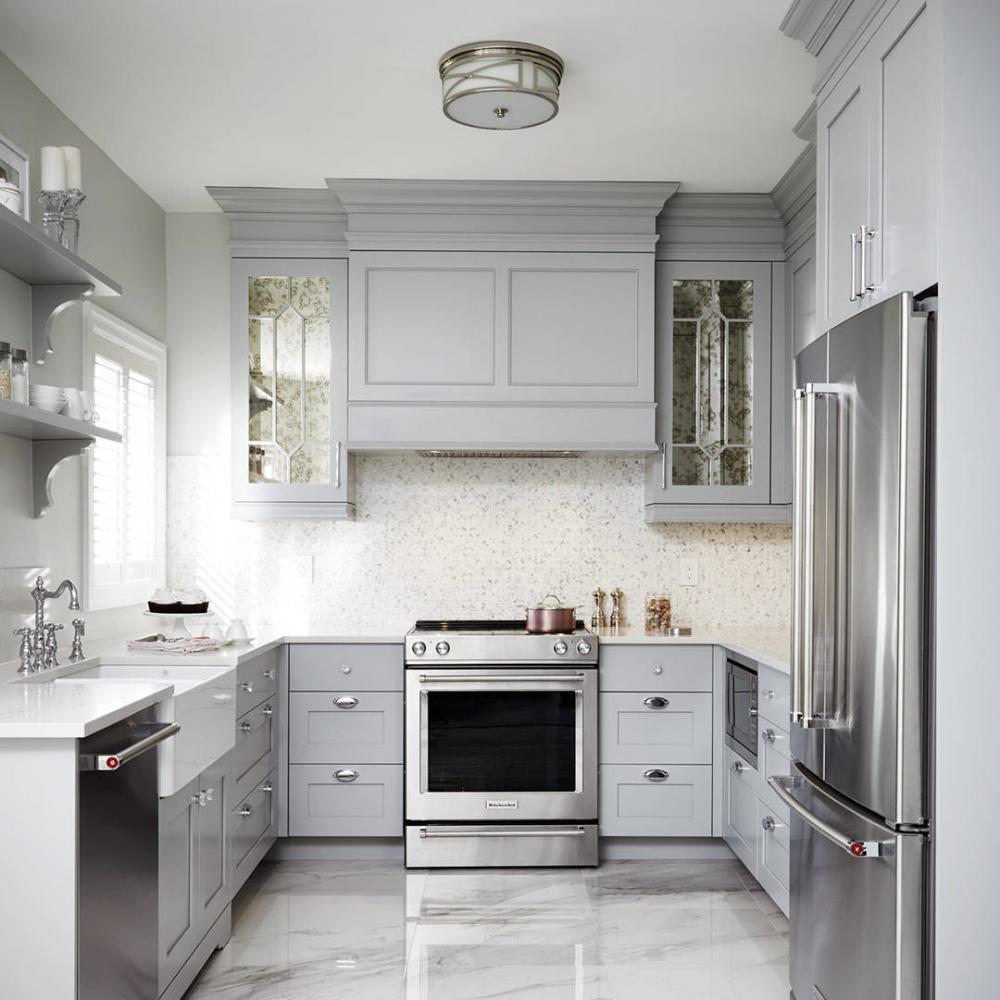 Monochrome Luxe Transitional Kitchen Kitchen Cabinet Design Light Grey Kitchens Kitchen Design