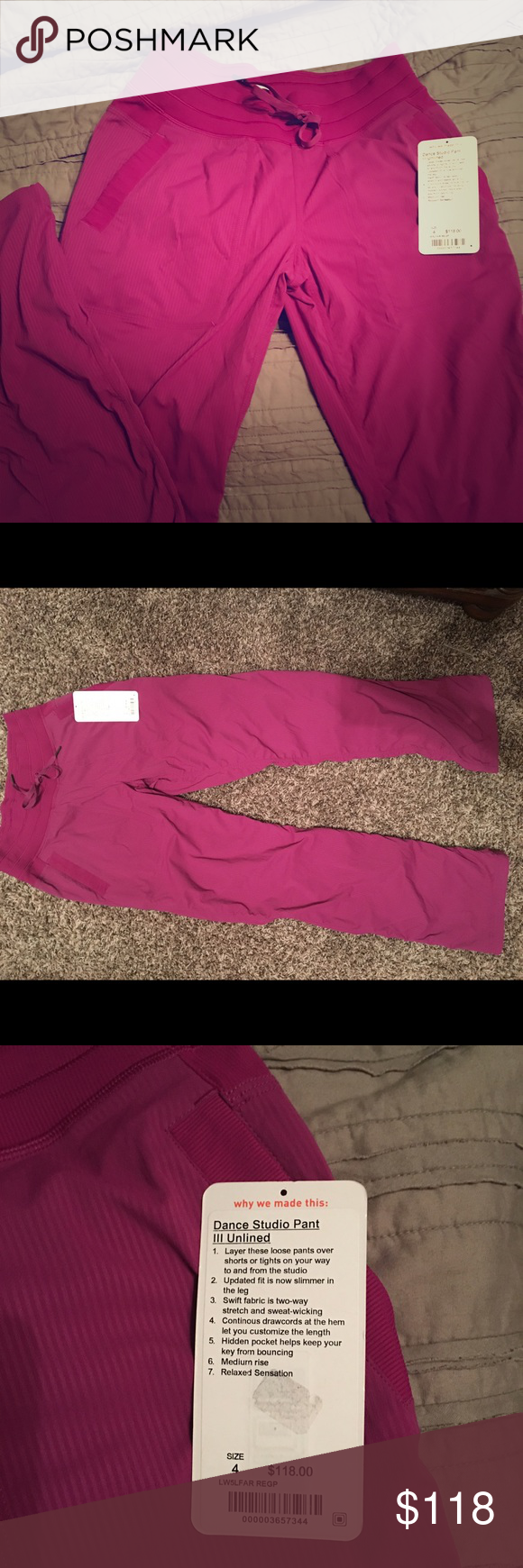 Lululemon studio dance III unlined size 4. NEW Brand new. Never worn. Beautiful Purple-pink color!! Just a tad to short for me so I need the tall ones!! I live to far to return :( lululemon athletica Pants Track Pants & Joggers