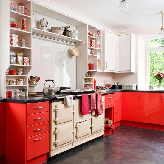 Red Kitchen Colour Ideas Home Trends Ideal Home Kitchen Decor Grey Red Kitchen Decor Red Kitchen