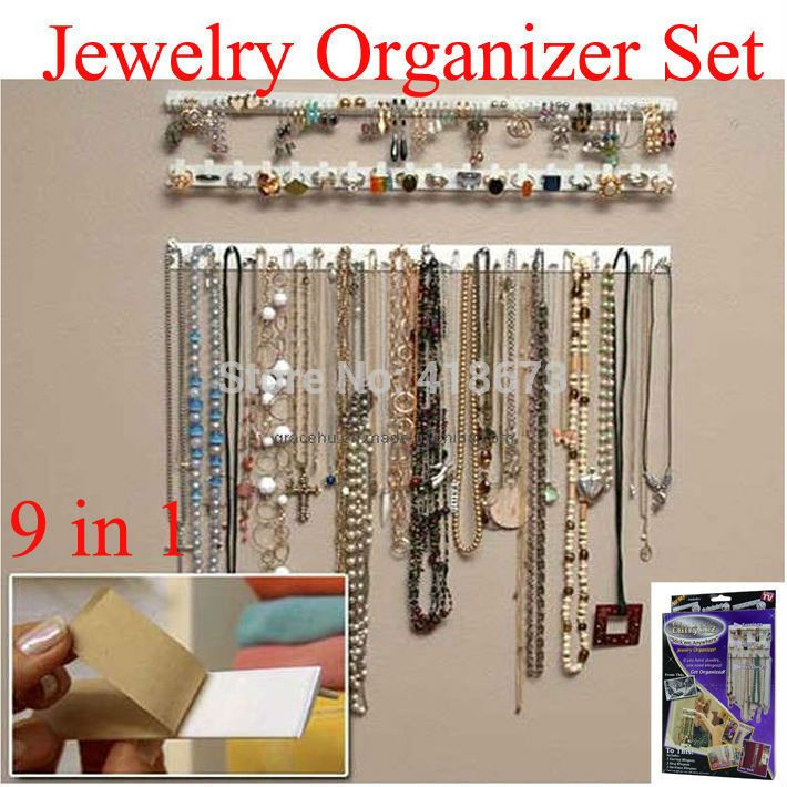 Hot Sale 9 In 1 Bling Eez Adhesive Hooks Jewelry Organizer