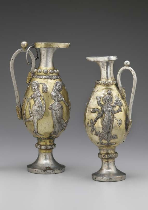 Ewer with female figures, Iran, Sasanian period, 6th–7th century B.C.