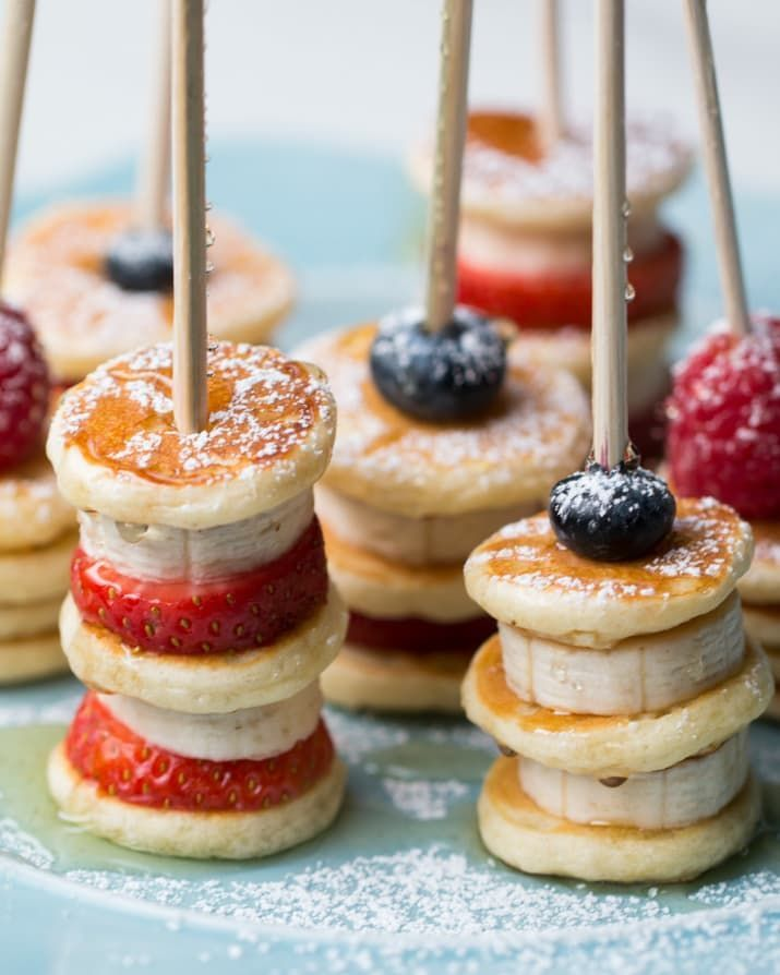 Strawberry Banana Pancake Skewers #drinks