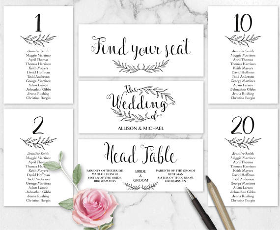 Rustic Wedding Seating Chart Template Header Signs and Table - free wedding seating chart templates