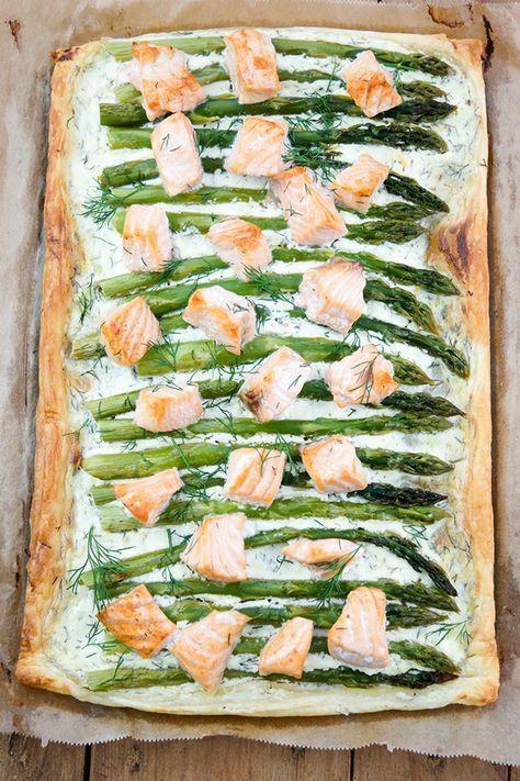 Lachs-Spargel-Tarte mit Blätterteig | Rezept | Elle Republic