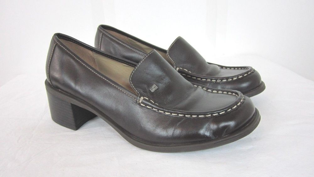 8637eda330a240 Tommy Hilfiger Womens Chunky Heel Penny Loafers Dark Brown Leather Size 8.5   fashion  clothing  shoes  accessories  womensshoes  heels