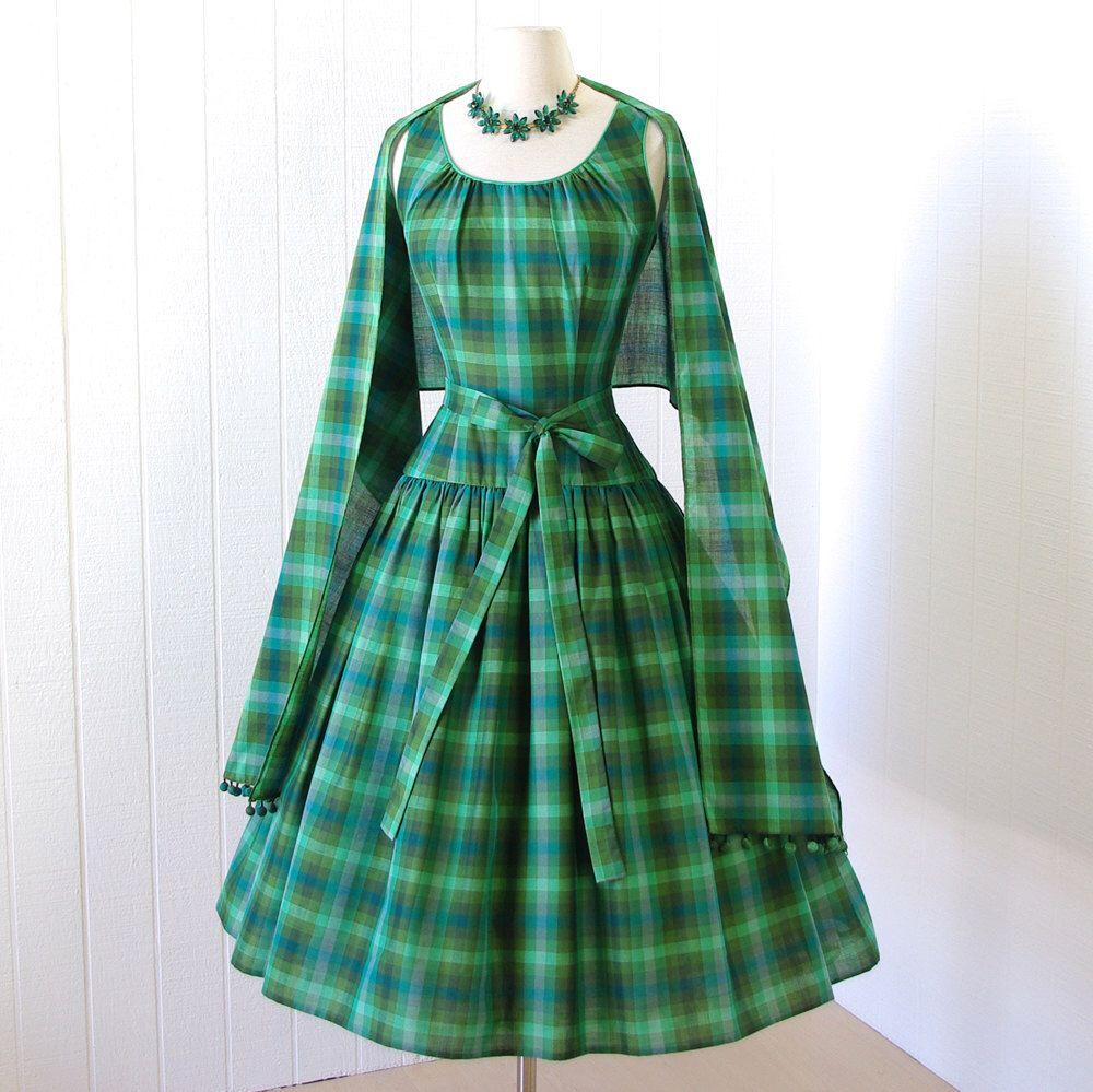 vintage 1950\'s dress ...2DIE4 TINA LESER Original green madras plaid ...
