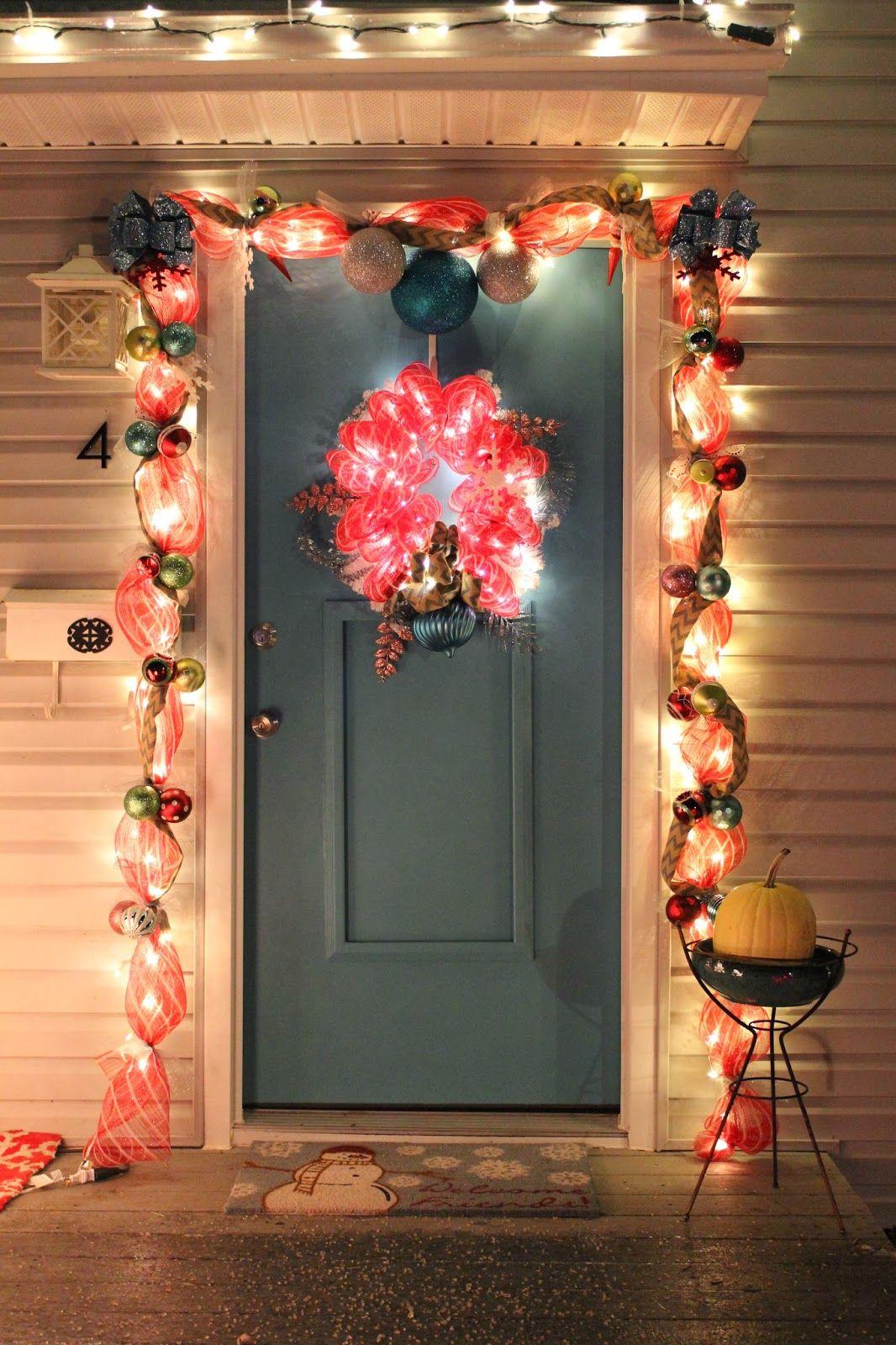 DIY Christmas light up deco mesh door garland and wreath