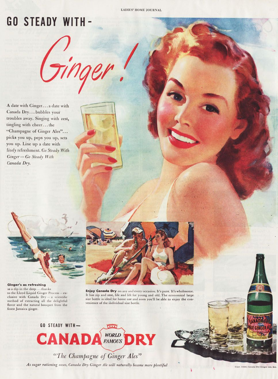 Canada Dry Ginger Ale 1946 ad - Redhead | Musings from Marilyn