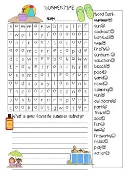 Free End of Year Summer Wordsearch | End of year, Words ...