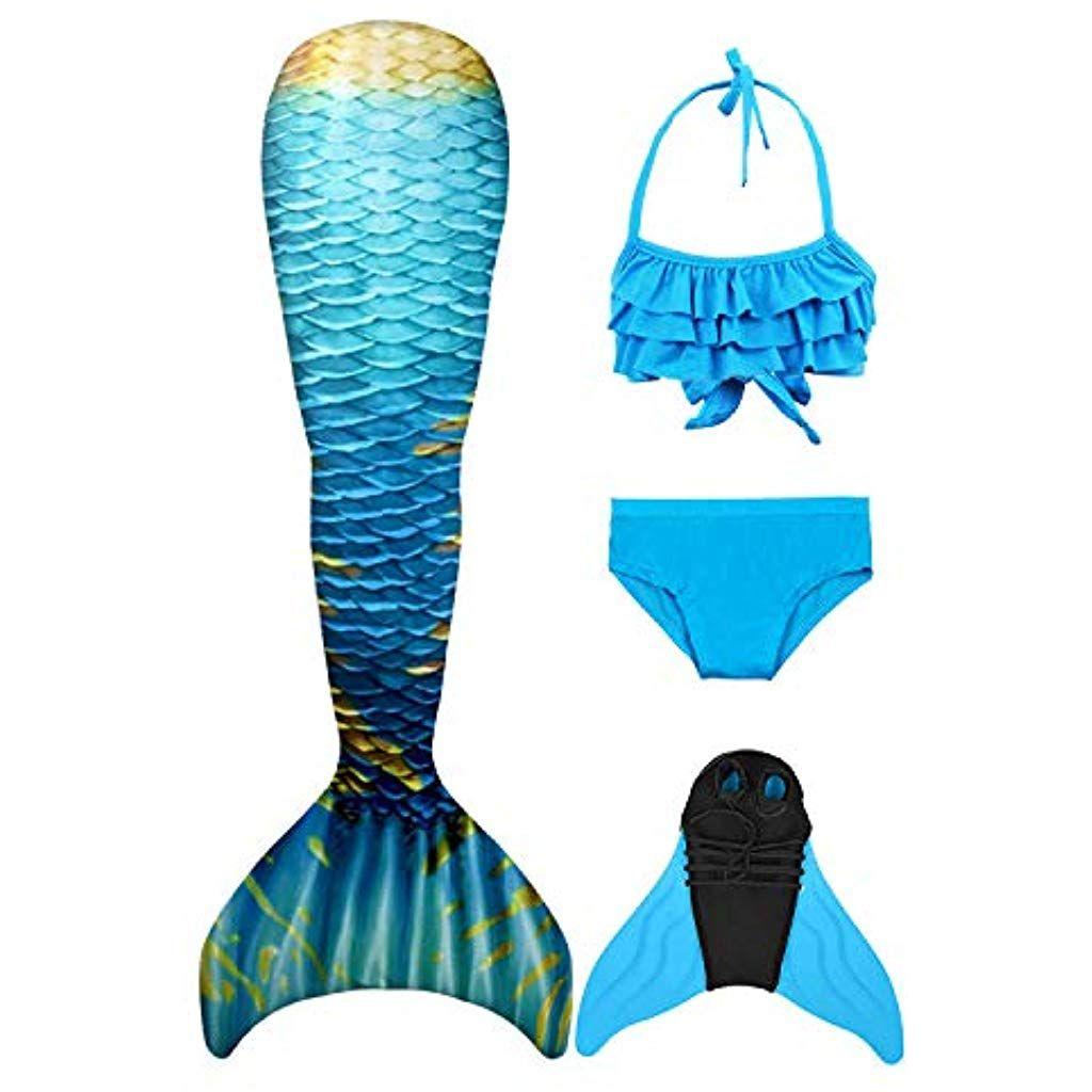 Hejin M/ädchen Meerjungfrau Badeanzug Meerjungfrauenschwanz Zum Schwimmen