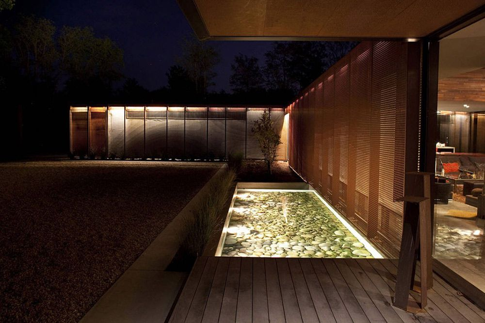 Water Feature Lighting Heavy Metal Residence Missouri By Hufft Projects