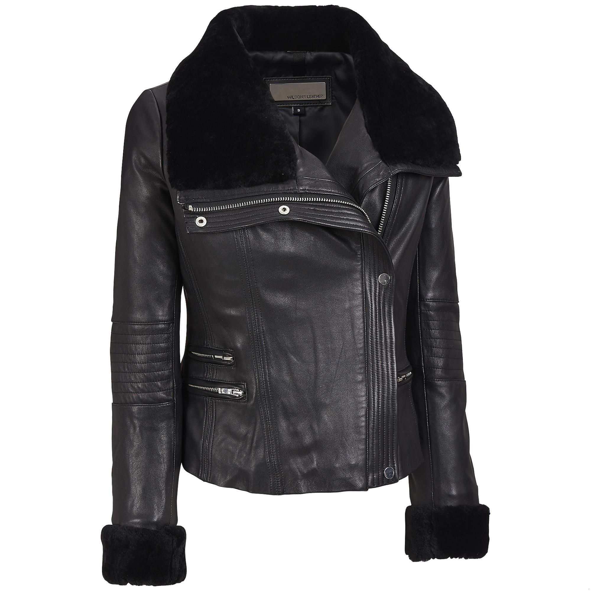 Wilsons Leather Asymmetric Leather Cycle Jacket w