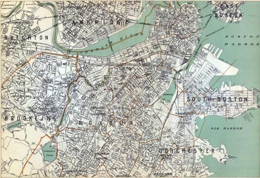 Cambridge Brighton Brookline Roxbury Dorchester South Boston Map Click To See Available Print Sizes Boston Map Dorchester South Boston