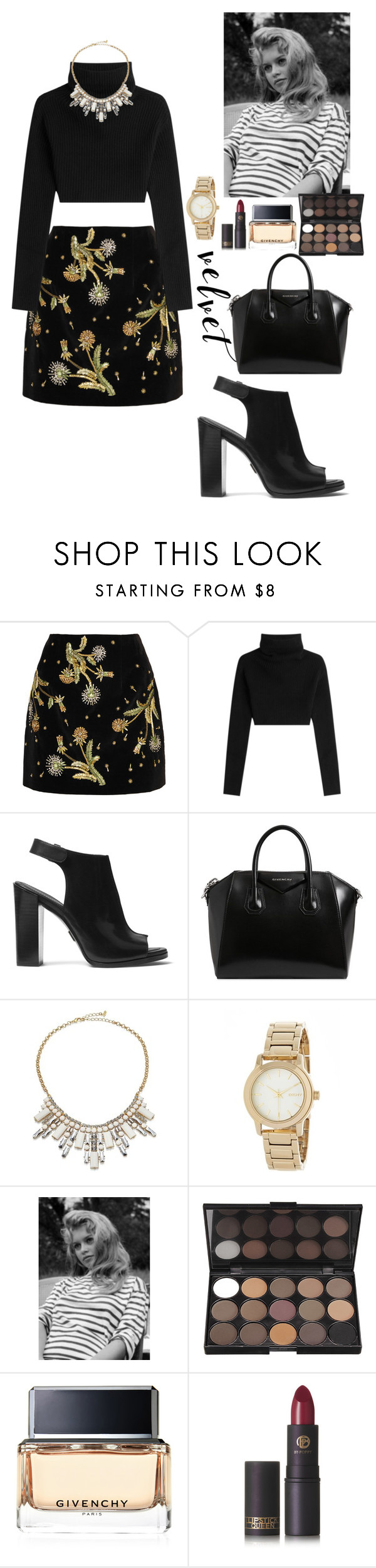 """JP"" by crystlbll ❤ liked on Polyvore featuring Topshop Unique, Valentino, Michael Kors, Givenchy, ABS by Allen Schwartz, DKNY and Lipstick Queen"