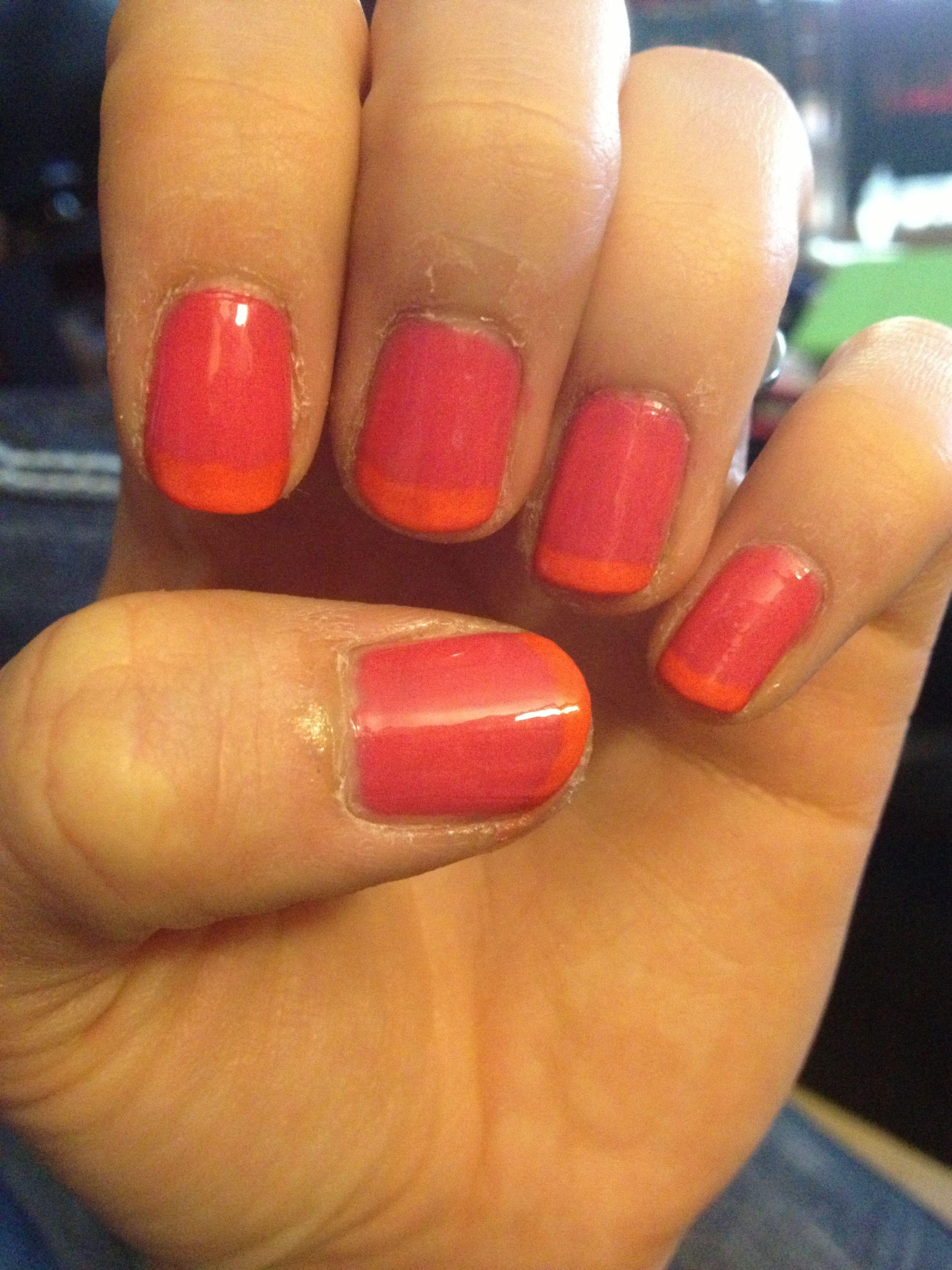 Neon French mani | Nails, French mani, Mani