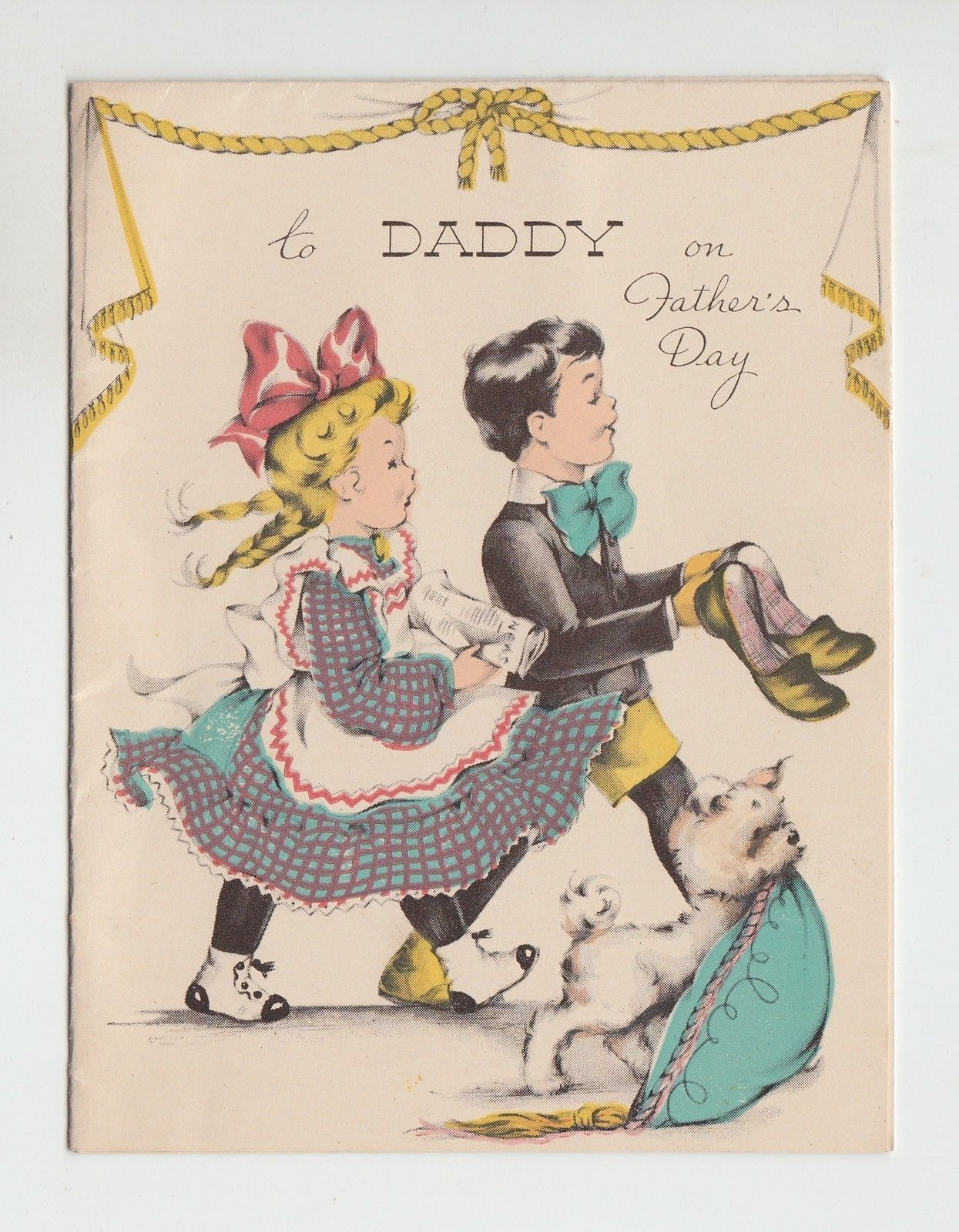 Vintage Children And Puppy To Daddy On Fathers Day Greeting Card