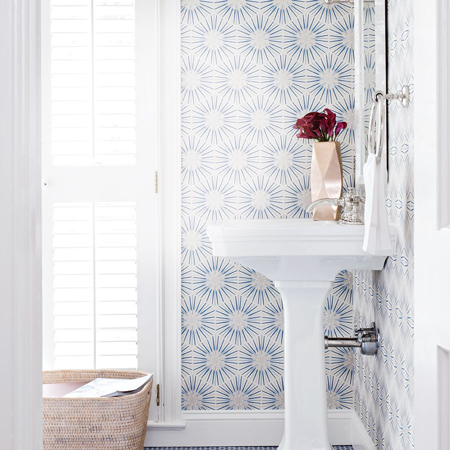 Wrap your bathroom walls in pattern to create a stylish oasis that will have you lingering in the tub.