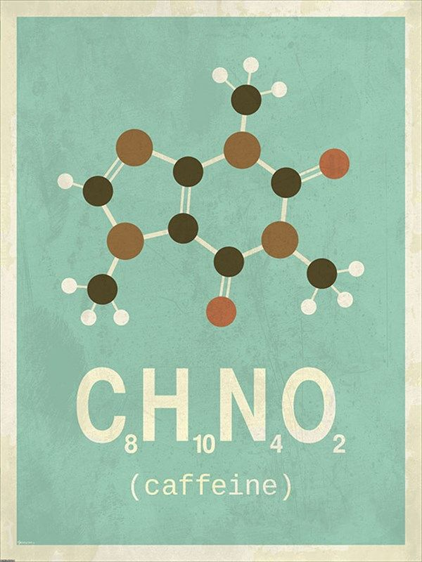 Molekyle Koffein 50x70 Plakater Grafisk Plakat Grafisk