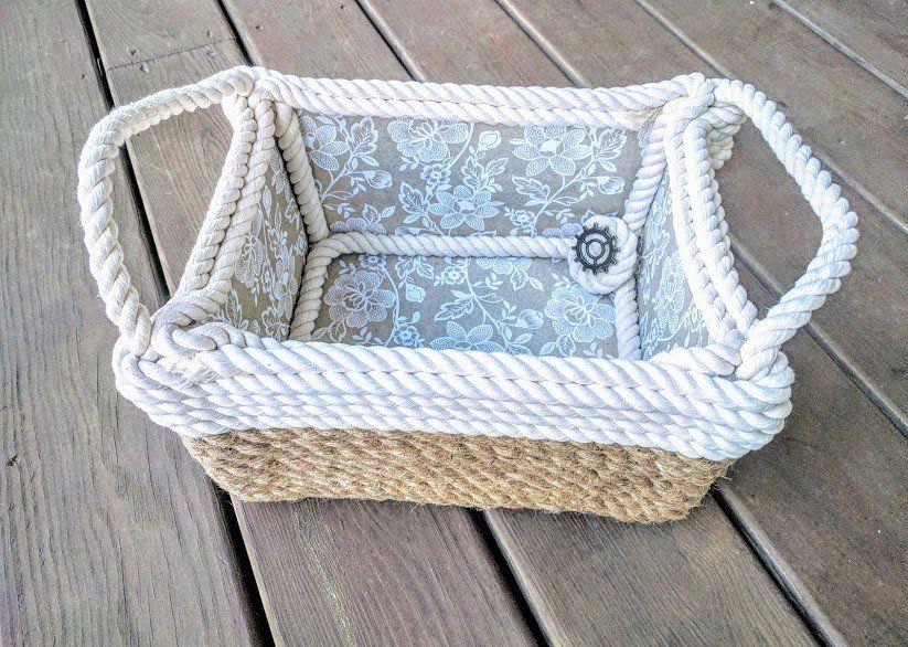 Nautical Jute And Cotton Basket Handmade Storage Basket Flower
