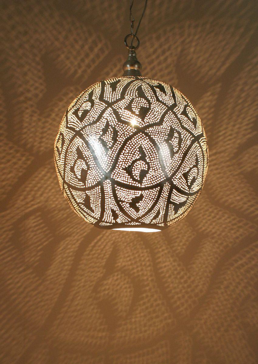 ZENZA Large Silver Hanglamp Bol Filigrain Pendant Light