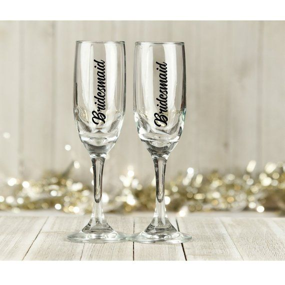 c1cbc1726db Bridesmaid champagne glass decal wine glass vinyl sticker wedding decal hen  party decal