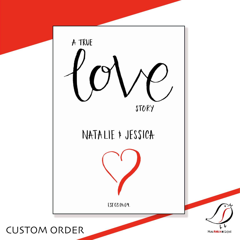 A true love story personalised custom digital print download