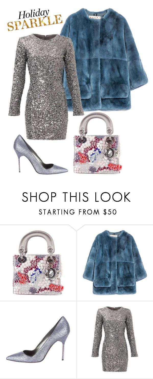 """Holiday Sparkle With The RealReal: Contest Entry"" by anchilly23 ❤ liked on Polyvore featuring Christian Dior, Marni, Manolo Blahnik and Slate & Willow"