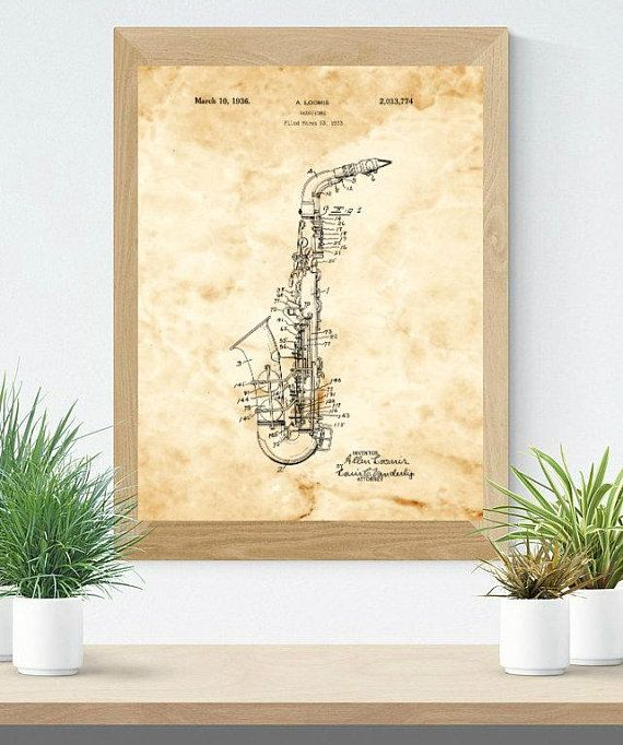 Saxophone patent. Music Teacher gift. Music room decor. Blueprint ...