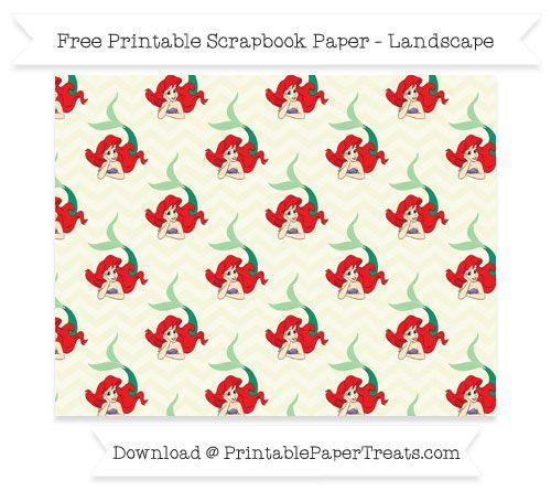 FreeBeige Chevron Large Ariel Pattern Paper - The Little Mermaid