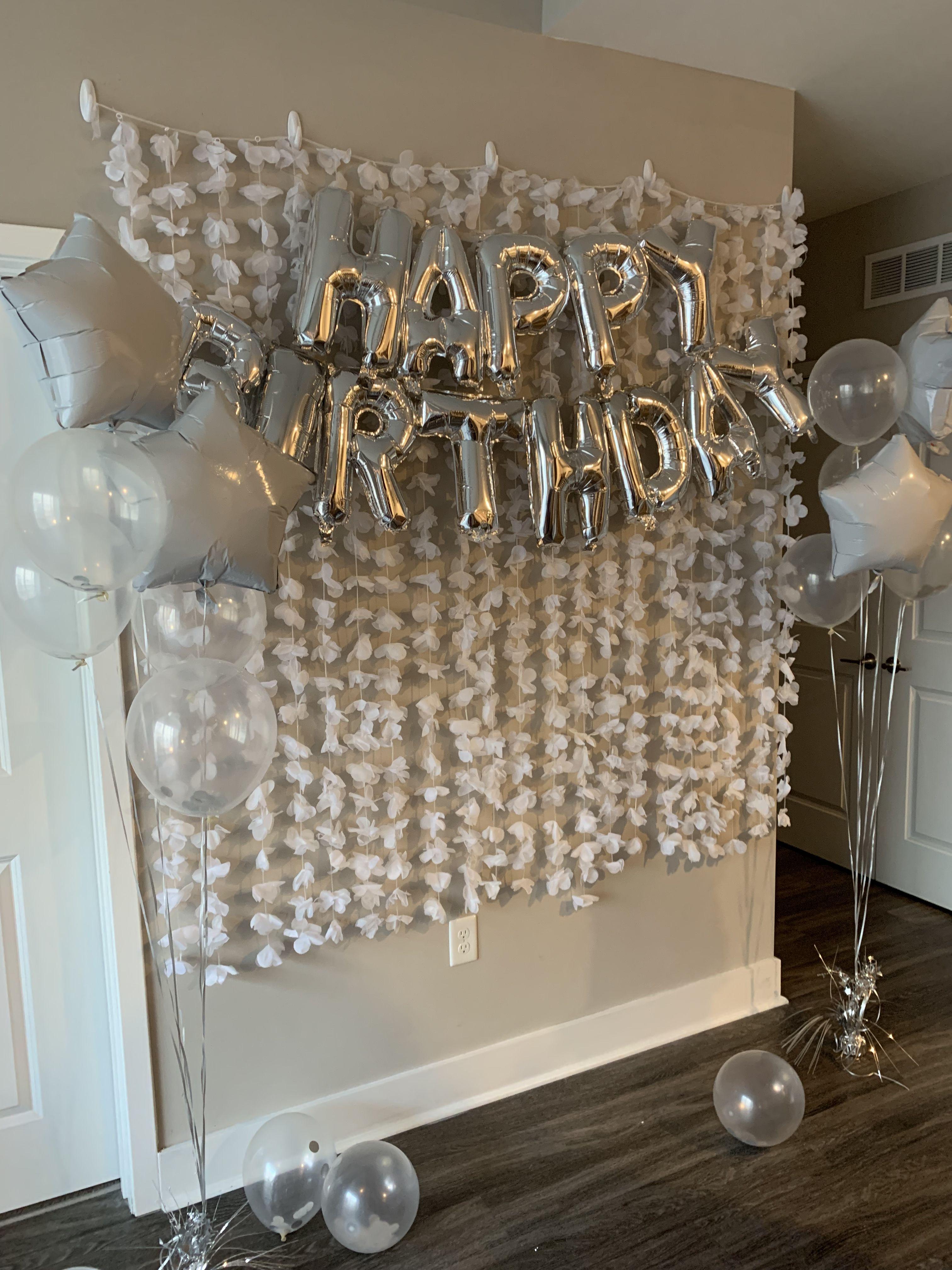 White Birthday Backdrop 21st Birthday Decorations 21st Birthday