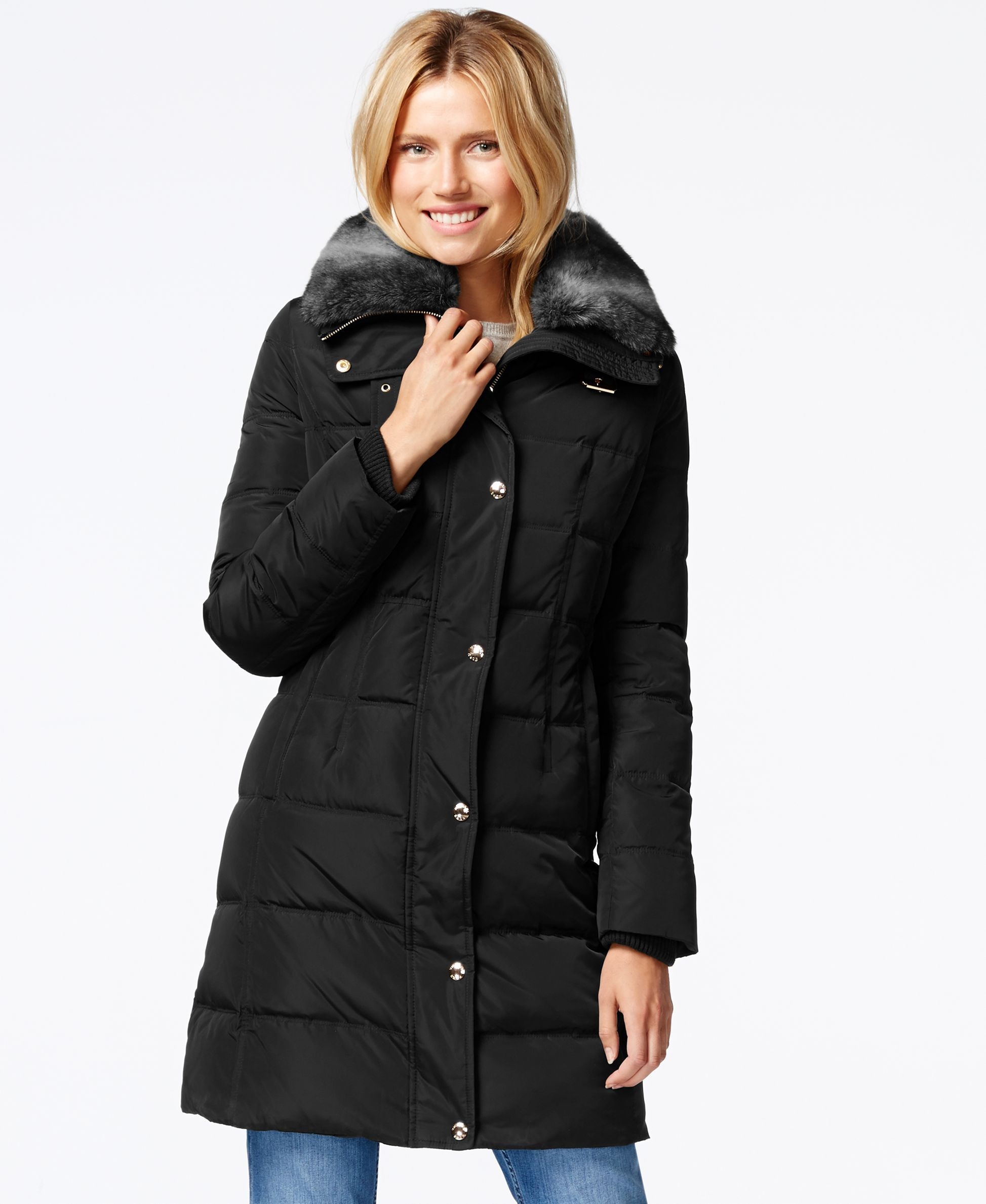 63c0ddc59 Michael Michael Kors Faux-Fur-Collar Quilted Puffer Down Coat ...