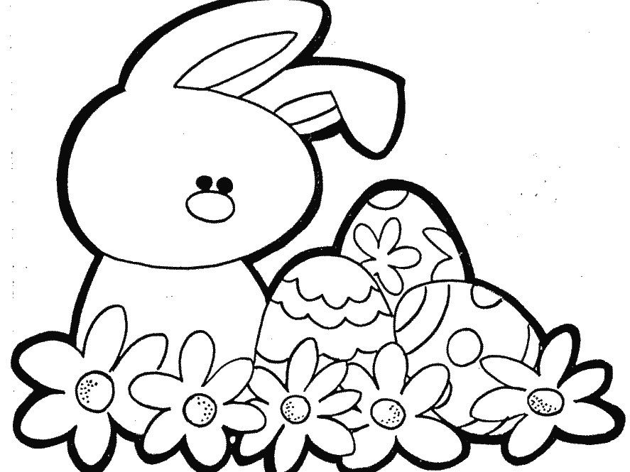 Easter With A Beautiful Flower Coloring Page For Kids | Easter ...