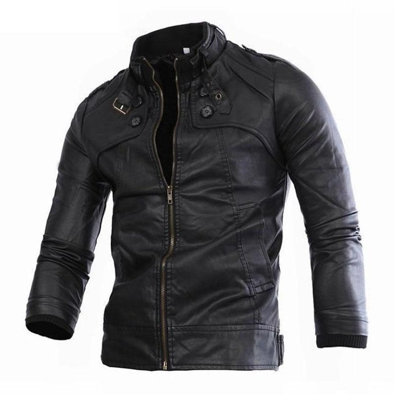 Mens Bomber Jackets Zipper Motorcycle Faux Leather Jacket