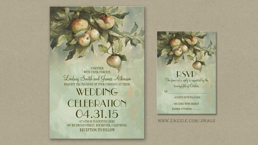 Apple tree and apples wedding invitation for vintage or rustic