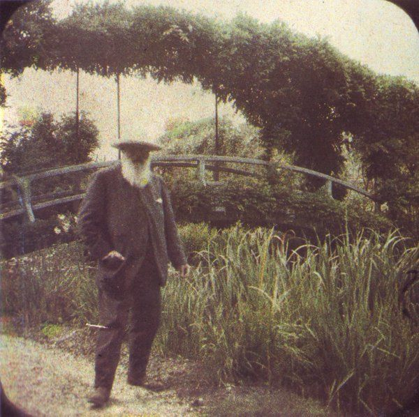 Autochrome of Monet posing in his garden, circa 1917. Photograph by Étienne Clémentel.