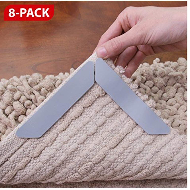Xfasten Anticurling Rug Gripper 8 Pack Anti Slip For Area Rug And Carpet Flooring Corners Flattens Rugs And Keeps Rugs And Carpet Area Carpet Carpet Flooring