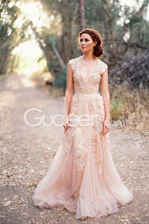 Fairy tale blush tulle wedding dress, floral lace is embellished ...