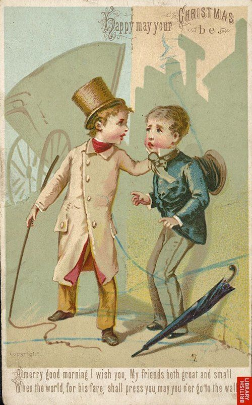 Worst Vintage X--mas Cards Ever! Basically is saying, Merry Christmas and  may a dapper bully not beat your ass.