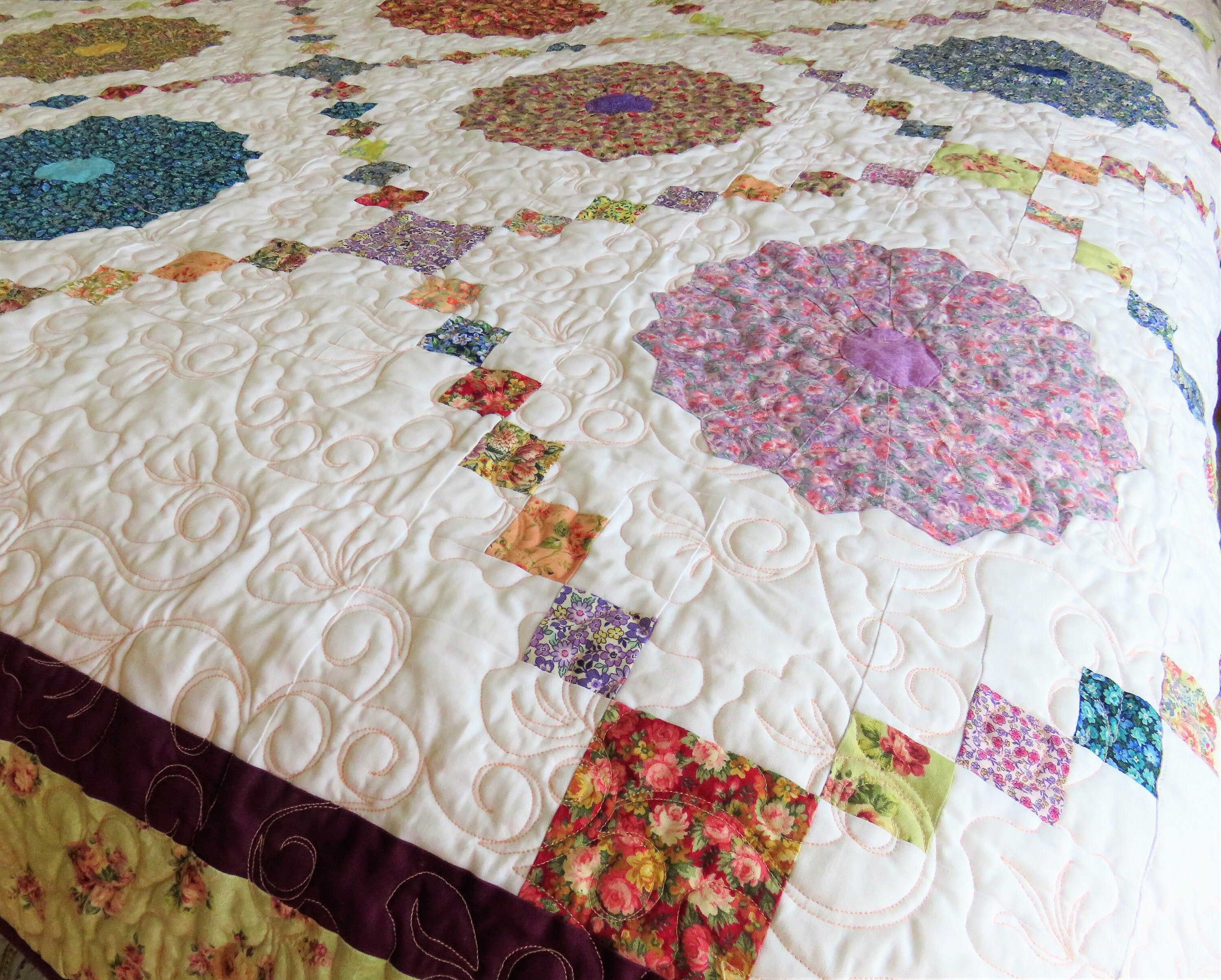 Handmade Full Size Quilt For Sale Floral Quilt Bedding Custom Quilting Floral Full Size Quilt Queen Coverlet Large Lap Blanket In 2020 Quilts For Sale Quilt Bedding Vintage Quilts