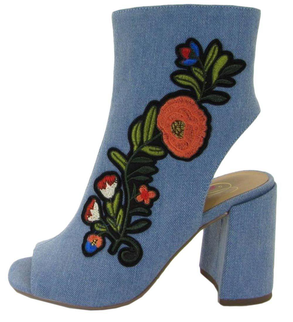 Delicious Women's Floral Embroidered Peep Toe Block Heel Bootie
