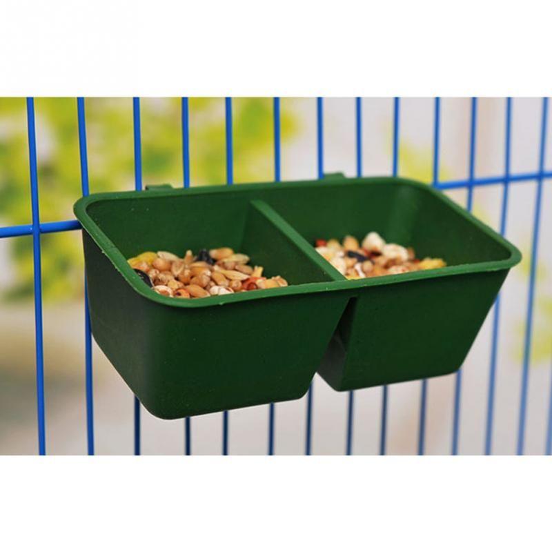 2で1オウムフードウォーターボウルデュアル送りカッププラスチック鳥ハトケージウォーター食品フィーダー給餌ボウル Food Feeder Parrot Pet Pigeon Cage