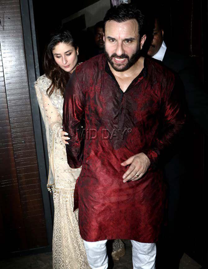 Kareena Kapoor Khan With Husband Saif Ali Khan At Anil Kapoor S Star Studded Diwali Bash Bollywood Fashion Khan Karisma Kapoor