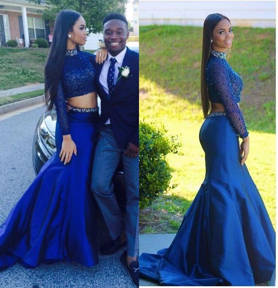 Royal blue dresses high neckline long sleeve beaded women prom dress