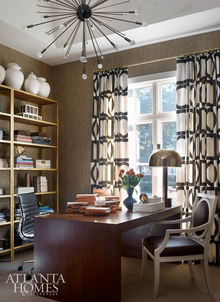 Interior Designer Melanie Turner Featured Woven Rattan 1864 Indigo In The Study Of A Client S Home