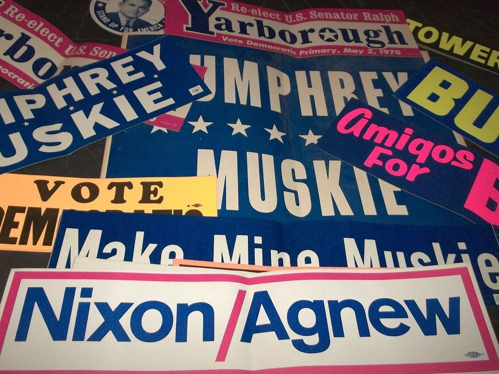 Lot 25 vintage political bumper stickers campaign sign nixon hubert humphrey