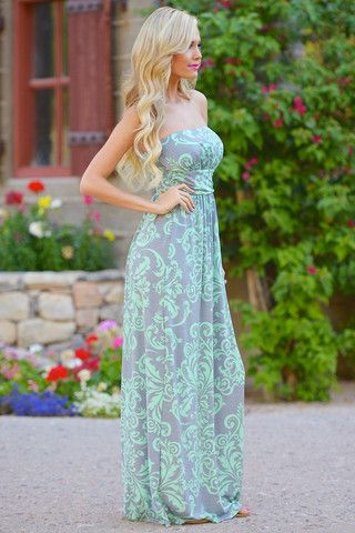 Just One More Maxi Dress - Mint/Grey   Closet Candy Boutique