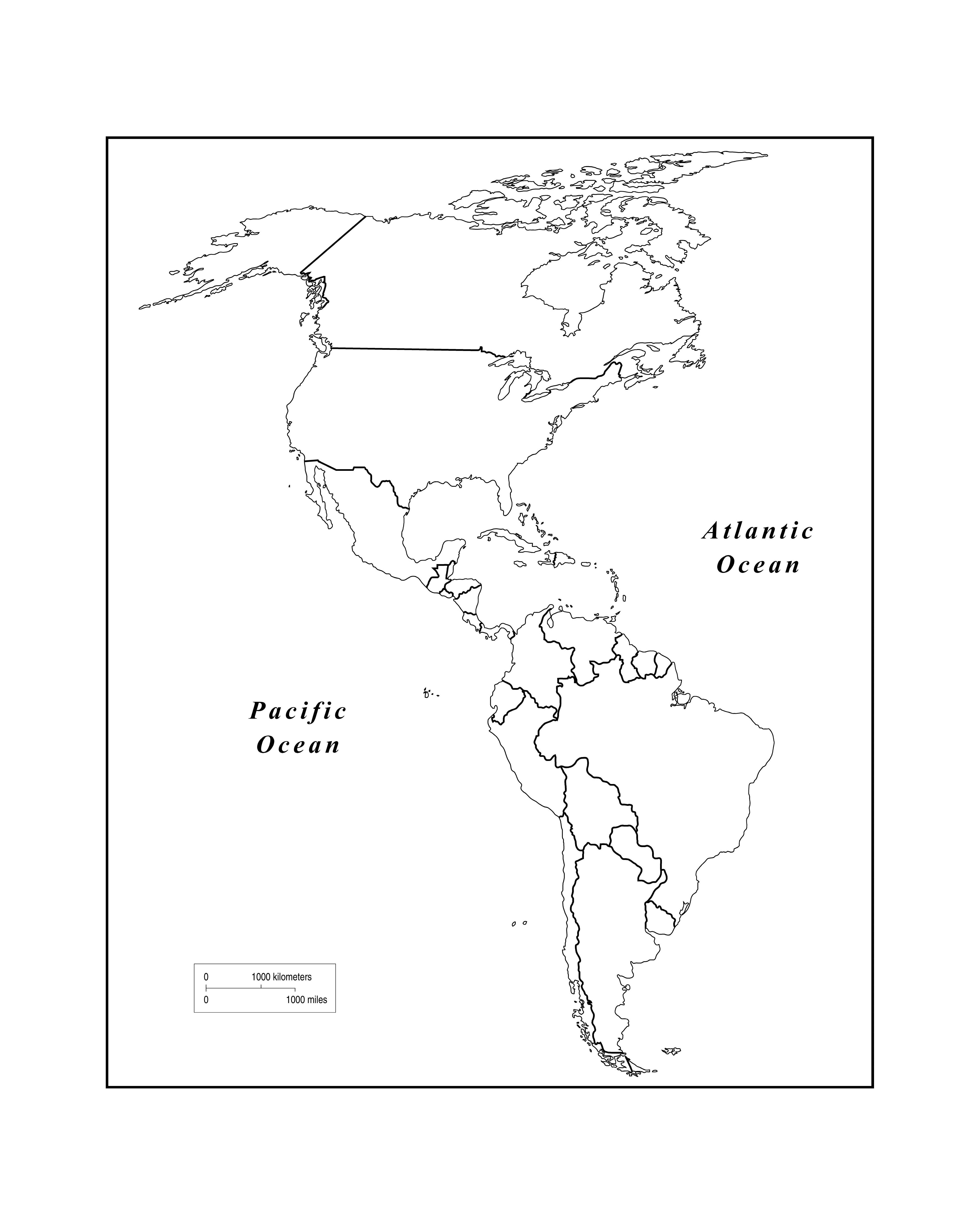 Outline Map Of Western Hemisphere With Maps The Americas ...