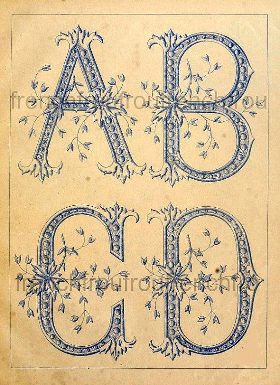 Antique french alphabet letters abcd leaves pattern